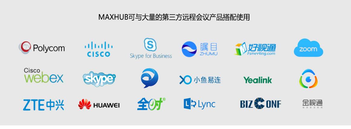 MAXHUB可与大量的第三方远程会议产品搭配使用