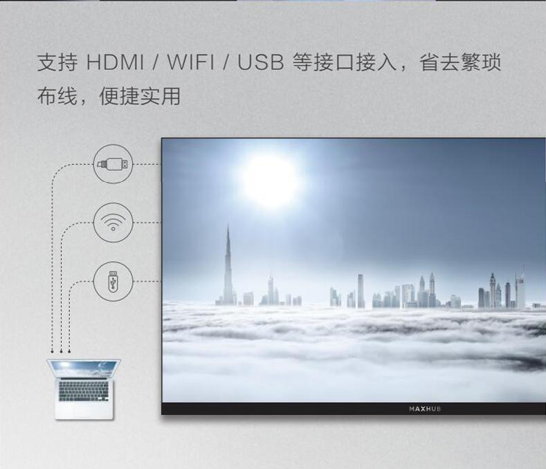 支持HDMI/WIFI/USB等接口接入,省去繁琐布线,便捷实用